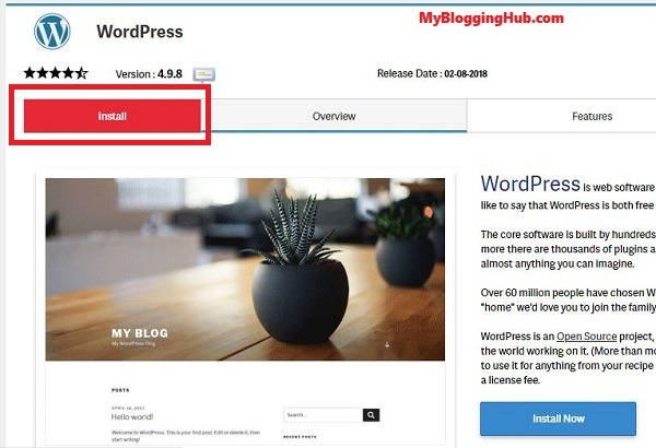 install wordpress now button